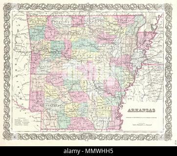 1855, Colton Map of Arkansas Stock Photo: 162575946 - Alamy