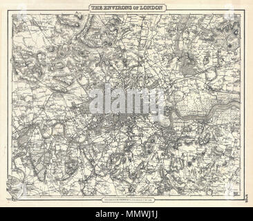 .  English: An excellent example of Colton's c. 1855 map of London and environs. Includes parts of Surrey, Kent, Middlesex and Essex. Extends north to Southgate, east to Chadwell Heath, south to Kingston, Mitcham and Bromley, and west to Harrow and Isleworth - on a scale of 5/8 of an inch to the mile. The whole is beautifully detailed to the level of individual buildings, trees, canals and roads. Includes topographical details as well as farms, parks, riverways, and swamps. This is most likely the one of the first maps of London to appear in an American atlas. Copyrighted 1855, but most likely - Stock Photo