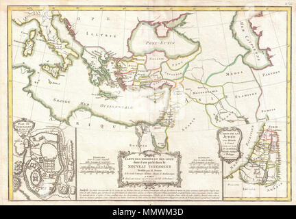 .  English: A beautiful example of Rigobert Bonne's 1771 decorative map of the lands of the Bible's New Testament. Covers from Italy eastward to include the Eastern Mediterranean, parts of Africa, Egypt, Persia, Arabia and Asia Minor. Includes both the Blank Sea (Pont-Euxin) and the Caspian Sea (Mer Caspienne). Numerous Biblical sites noted throughout. An inset in the lower left quadrant details the city of Jerusalem in the times of Jesus Christ. Notes the Temple, the Fort of Sion, and the Palace of Solomon, the Mount of Olives, etc. A second inset in the lower right quadrant focuses on Judea  - Stock Photo