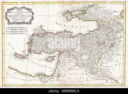 .  English: A beautiful example of Rigobert Bonne's 1771 decorative map of Turkey in Asia. Covers from Egypt north to Crimea and from Crete and the Dardanelles east to the Persian Gulf and Georgia. Includes the modern day nations of Turkey, Syria, Cyprus, Iraq, Israel, Jordan, Lebanon, Kuwait, Armenia, Georgia, Azerbaijan and Ukraine. Also notes the disputed lands of Armenia and Kurdistan. Remarkably, this map actually shows the notes but stunning Armenian church on Lake Van's Akdamar Island. A decorative baroque title cartouche appears in the upper left quadrant. Drawn by R. Bonne in 1771 for - Stock Photo