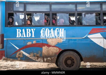 A bus seen ready to depart for the Kyangwali refugee camp with the newly arrived Congolese refugees. At least 80,000 Congolese refugees has fled to Uganda since January 2018 as violence broke out in Ituri Province in Northeastern Democratic Republic of Congo. - Stock Photo