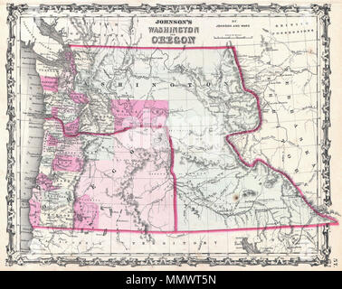 English: A beautiful example of A. J. Johnson\'s 1862 map of ...