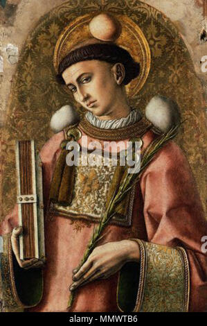 .  English: The objects around St. Stephen's head and body are depictions of the rocks, which were used to kill him.  St. Stephen from The Demidoff Altarpiece. 1476. St-stephen - Stock Photo