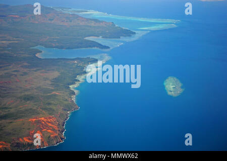 Aerial view of the coastline around Port-Boise Bay and Goro Bay, New Caledonia, South Pacific - Stock Photo