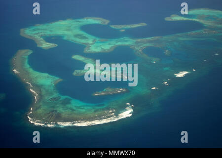 Aerial view of an atoll part of the Integral Reserve Yves Merlet, South of New Caledonia, South Pacific - Stock Photo
