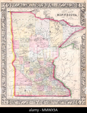 ".  English: A beautiful example of S. A. Mitchell Jr.'s 1864 map of Minnesota. Detailed to the county level with attention to American Indian tribes, towns, geographical features, proposed railroads, and cities. Many of the counties of northern and western Minnesota are absent or ill defined. ""Lake of the Woods"" and ""Rainy Lake"" appear to the north of the map. One of the most attractive atlas maps of this region to appear in the mid 19th century. Features the floral border typical of Mitchell maps from the 1860-65 period. Prepared by W. H. Gamble for inclusion as plate 42 in the 1864 issue of  - Stock Photo"