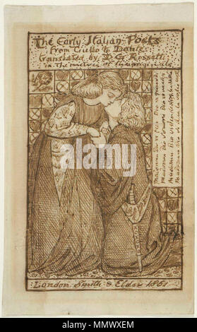 . Study for titlepage of The Early Italian Poets  . 1861. Dante Gabriel Rossetti - The Early Italian Poets (study for titlepage) 01 - Stock Photo