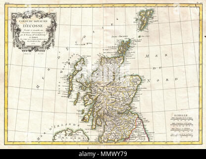 .  English: A beautiful example of Rigobert Bonne's 1771 decorative map of Scotland. Covers All of Scotland including the Shetland, Orkney and Hebrides Islands. Divided by county. A decorative baroque title cartouche appears in the upper left quadrant. Drawn by R. Bonne in 1771 for issue as plate no. B 20 in Jean Lattre's 1776 issue of the Atlas Moderne .  Carte du Royaume D'Ecosse.. 1771 (dated). 1772 Bonne Map of Scotland - Geographicus - Scotland-bonne-1772 - Stock Photo