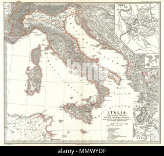 1865 Spruner Map Of Italy After The Battle Of Actium Stock Photo