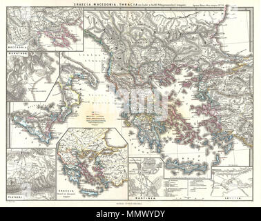 .  English: This is Karl von Spruner's 1865 map of Graecia, Macedonia, Thracia. Showing the whole of Greece, Macedonia, and Thracia (modern day Southeast Bulgaria, Northeast Greece, and European Turkey) the map also includes 6 smaller insets. Counter-clockwise, the insets include: Macedonia, Marathon, Plataea, Graecia, Mantinea, and Leuctra. The insets of Mantinea and Leuctra depict the important battles that took place at these locations, during the Peloponnesian War and the Post-Corinthian War conflict, respectively. Countries and territories are outlined in color. The whole is rendered in f - Stock Photo