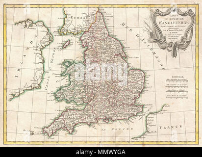 .  English: A beautiful example of Rigobert Bonne's 1771 decorative map of England and Wales. Covers all of England and Wales as well as parts of adjacent Scotland, Ireland and France. Divided by county. A decorative baroque title cartouche appears in the upper right quadrant. Drawn by R. Bonne in 1771 for issue as plate no. 36 in Jean Lattre's 1776 issue of the Atlas Moderne .  Carte du Royaume D'Angleterre.. 1771 (dated). 1772 Bonne Map of England and Wales - Geographicus - England-bonne-1772 - Stock Photo
