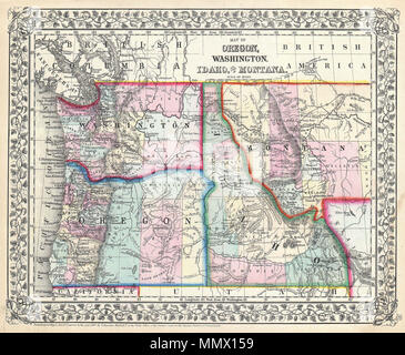 ".  English: A beautiful example of S. A. Mitchell Junior's 1867 map of Washington, Oregon, Idaho and Montana. Detailed and color coded at the county level with attention to towns, geographical features, proposed railroads, and cities. The Montana-Wyoming border has yet to be fully resolved. Features the vine motif border typical of Mitchell maps from the 1865-80 period. Prepared for inclusion as plate 50 in the 1867 issue of Mitchell's New General Atlas . Dated and copyrighted, ""Entered according to Act of Congress in the Year 1867 by S. Augustus Mitchell Jr. in the Clerk's Office of the Distr - Stock Photo"