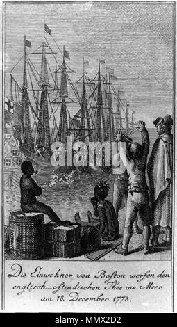 . Deutsch: Die Einwohner von Boston werfen den englisch-ostindischen Tee am 18. Dezember 1773 ins Meer. English: The residents of Boston throw English-East indian tea into sea on December 18, 1773. Engraving shows citizens of Boston, disguised as Indians, boarding ships in Boston Harbor and throwing chests of tea overboard. CREATED/PUBLISHED: 1784. ARTIST: Daniel Chodowiecki, 1726-1801. ENGRAVER: Daniel Berger, 1744-1824.  . 18 December 1773. Daniel Berger after a painting of Daniel Chodowiecki Die Einwohner von Boston werfen den englisch-ostindischen Thee ins Meer am 18. December 1773 - Stock Photo
