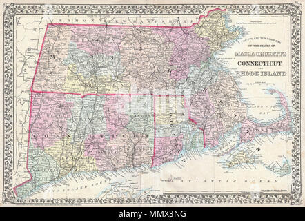 ".  English: A beautiful example of S. A. Mitchell Jr.'s 1873 map of Massachusetts, Connecticut and Rhode Island. Shows cities, towns, railroads and roadways with color coding according to district. Also includes both Martha Vineyard and Nantucket. Features the vine motif border typical of Mitchell maps from the 1865-80 period. Prepared by W. H. Gamble for inclusion as plate 14 in the 1873 issue of Mitchell's New General Atlas . Dated and copyrighted, ""Entered according to Act of Congress in the Year 1873 by S. Augustus Mitchell in the Office of the Librarian of Congress at Washington.  County  - Stock Photo"