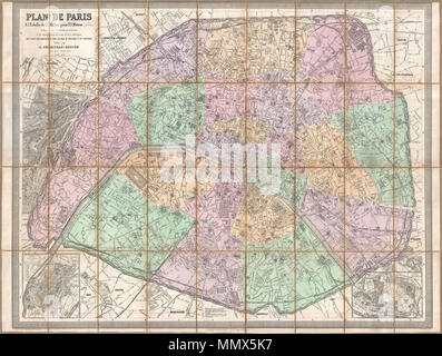 Large Scale Map Of France.1878 Andriveau Goujon Pocket Map Of Paris France Reimagined By