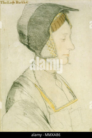 . English: Portrait study of Elizabeth Dauncey. Black and coloured chalks on paper, 37.1 × 28.2 cm, Royal Collection, Windsor. Elizabeth Dauncey (b. 1506) was the second daughter of Thomas More. This drawing is one of seven fine surviving studies drawn by Holbein for his group portrait of Thomas More's family. The inscription, added much later, is demonstrably false (See: Christian Müller; Stephan Kemperdick; Maryan Ainsworth; et al, Hans Holbein the Younger: The Basel Years, 1515–1532, Munich: Prestel, 2006, ISBN 9783791335803).  . c. 1527.   Hans Holbein (1497/1498–1543)   Alternative n - Stock Photo