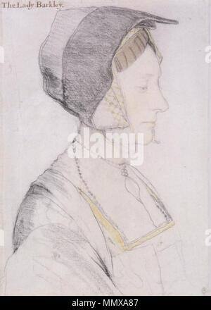 . English: Portrait study of Elizabeth Dauncey. Black and coloured chalks on paper, 37.1 × 28.2 cm, Royal Collection, Windsor. Elizabeth Dauncey (b. 1506) was the second daughter of Thomas More. This drawing is one of seven fine surviving studies drawn by Holbein for his group portrait of Thomas More's family. The inscription, added much later, is demonstrably false.  . circa 1527.   Hans Holbein (1497/1498–1543)   Alternative names Hans Holbein der Jüngere, Hans Holbein  Description German painter and draughtsman  Date of birth/death 1497 or 1498 between 7 October 1543 and 29 November 15 - Stock Photo