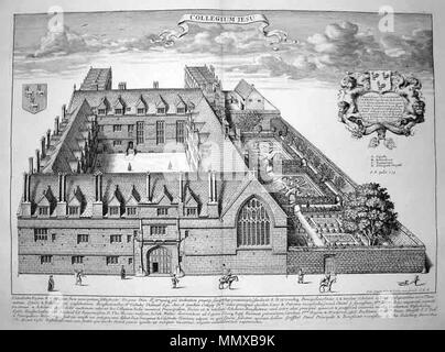 .  English: Jesus College, Oxford - an engraving from 'Oxonia Illustrata' (1675) by David Loggan. http://www.sandersofoxford.com/describe?id=2127 describes it thus: 'The first Illustrated book on Oxford and one of the major works of the 17th century. The book was the product of several years of devoted and conscientious effort in which Loggan was assisted by his pupil Robert White. David Loggan was born in Danzig in 1635 and came to England around 1653. By 1665 he was living in Nuffield near Oxford and in 1669 was appointed engraver to the University. In 1675 he married and became a naturalise - Stock Photo