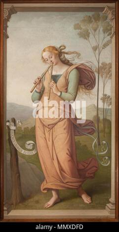 . 218.4 × 114.3 cm  English: Euterpe, Muse of Poetry . 1892. Creator:Egide Godfried Guffens (Belgian, 1823-1901) Euterpe, Muse of Poetry by Egide Godfried Guffens - Stock Photo