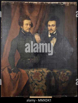 Portrait of French poet Évariste Boulay-Paty (1804-1864) (left) with friend Maximilien Raoul (aka Charles Letellier) (right).. circa 1834. Evariste Boulay-Paty - Stock Photo
