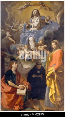 English: Virgin in glory and Saints John the Evangelist, Eufemia and Nicola of Tolentino . between circa 1630 and circa 1648. Simone Cantarini - Virgin in glory and Saints John the Evangelist, Eufemia and Nicola of Tolentino - Stock Photo
