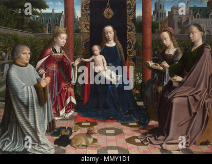 . Sacred conversation  The Virgin and Child with Saints and Donor. Probably 1510. Gerard David - The Virgin and Child with Saints and Donor - Google Art Project - Stock Photo