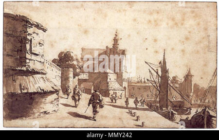 Nederlands: Gezicht op Delft. English: A View of Delft. circa 1750. Gerrit Toorenburgh, Gezicht op Delft - Stock Photo