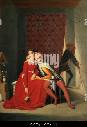 English: Gianciotto Discovers Paolo and Francesca Français : Gianciotto découvre Paolo et Francesca . 1819. Gianciotto Discovers Paolo and Francesca Jean Auguste Dominique Ingres - Stock Photo