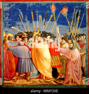 .  English: The disciple on the left, who wounds a soldier with his knife, is Saint Peter.  English: No. 31 Scenes from the Life of Christ: 15. The Arrest of Christ (Kiss of Judas) . between 1304 and 1306. Giotto di Bondone - No. 31 Scenes from the Life of Christ - 15. The Arrest of Christ (Kiss of Judas) - WGA09216 adj - Stock Photo