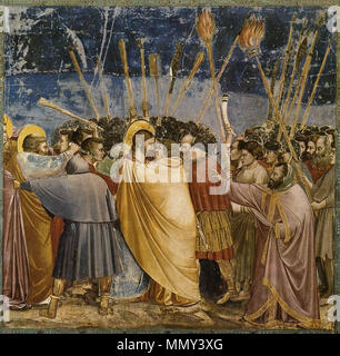 .  English: The disciple on the left, who wounds a soldier with his knife, is Saint Peter.  English: No. 31 Scenes from the Life of Christ: 15. The Arrest of Christ (Kiss of Judas) . between 1304 and 1306. Giotto di Bondone - No. 31 Scenes from the Life of Christ - 15. The Arrest of Christ (Kiss of Judas) - WGA09216 - Stock Photo