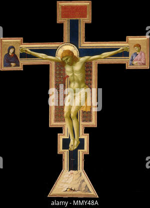 . English: Giotto. the-crucifix-1290-1300 Florence, Santa Maria Novella.  . between 1290 and 1300.   Giotto di Bondone (–1337)   Alternative names Giotto  Description Italian painter, architect, sculptor and goatherd  Date of birth/death 1267 / 1276 8 January 1337  Location of birth/death Colle di Vespignano, part of Vicchio, Tuscany Florence  Work location Florence, Padua, Rome, Naples, Assisi  Authority control  : Q7814 VIAF:?27073355 ISNI:?0000 0001 2125 1587 ULAN:?500010766 LCCN:?n81071909 NLA:?35126164 WorldCat Giotto. the-crucifix-1290-1300 Florence, Santa Maria Novella - Stock Photo