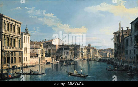 English: Venice: The Grand Canal from Palazzo Flangini to the Church of San Marcuola . circa 1738. Giovanni Antonio Canal, il Canaletto - Venice - The Grand Canal from Palazzo Flangini to the Church of San Marcuola - WGA03919 - Stock Photo