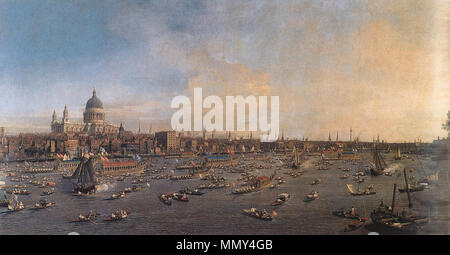 The River Thames with St. Paul's Cathedral on Lord Mayor's Day. between 1746 and 1747. Giovanni Antonio Canal, il Canaletto - The River Thames with St. Paul's Cathedral on Lord Mayor's Day - WGA03942 - Stock Photo