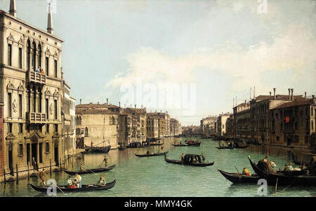 English: Venice: The Grand Canal, Looking North-East from Palazzo Balbi to the Rialto Bridge . circa 1724. Giovanni Antonio Canal, il Canaletto - Venice - The Grand Canal, Looking North-East from Palazzo Balbi to the Rialto Bridge - WGA03851 - Stock Photo