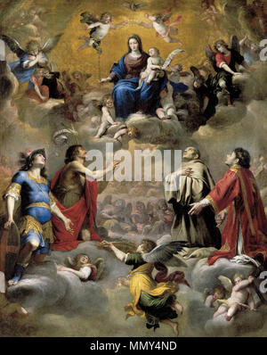 Virgin and Child in Glory with Saints. 1655. Giovanni Battista Carlone - Virgin and Child in Glory with Saints - WGA4247 - Stock Photo