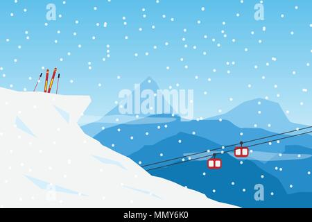 vector  Minimalist style Snow Ski concept. Flat Minimal Landscape Illustration Eps10 - Stock Photo