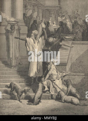 . English: Print by Gustave Doré illustrating the parable of the rich man and Lazarus, from the Gospel of Luke Русский: Притча богач и Лазарь из Евангелия от Луки, художник Гюстав Доре  . 1891.   Gustave Doré (1832–1883)   Alternative names Paul Gustave Doré, Paul Gustave Louis Christophe Doré  Description French painter, illustrator, engraver and caricaturist  Date of birth/death 6 January 1832 23 January 1883  Location of birth/death Strasbourg Paris  Work location Paris  Authority control  : Q6682 VIAF:?41839207 ISNI:?0000 0001 2278 6962 ULAN:?500013657 LCCN:?n79089221 NLA:?35041510 Wor - Stock Photo