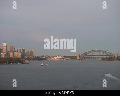 Early Morning View Of The Sydney Opera House And Sydney Harbour Bridge - Stock Photo