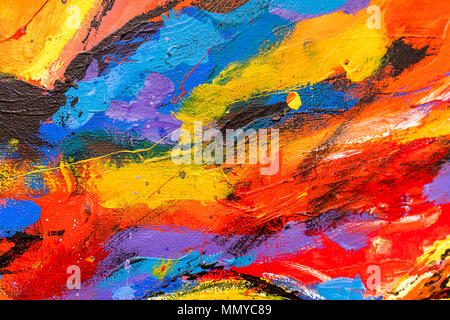 A vibrant and colourful oil and acrylic abstract painting background on canvas painted with wild and free brush strokes - Stock Photo