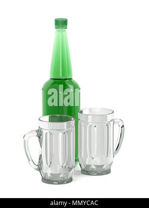 Big plastic beer bottle and two empty mugs on white background - Stock Photo
