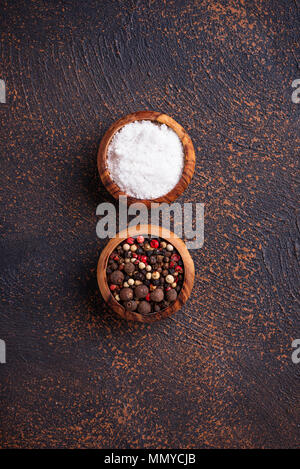 Salt and pepper. Culinary background - Stock Photo