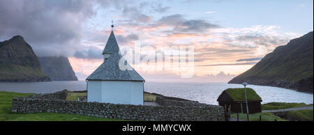 Panoramic of church of Vidareidi, Vidoy island, Faroe Islands, Denmark - Stock Photo