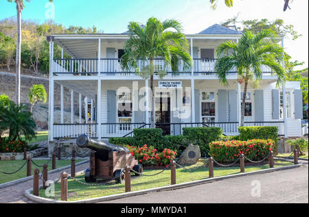 Antigua Lesser Antilles islands in the Caribbean West Indies - Nelsons Dockyard a Unesco heritage site at English Harbour - Stock Photo