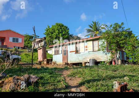 Antigua Lesser Antilles islands in the Caribbean West Indies - Typical roadside homes and shacks - Stock Photo