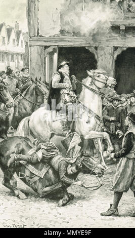 The assassination of James Stewart, 1st Earl of Moray, and Regent of Scotland at Linlithgow, Scotland, 23 January 1570. Assassinated by James Hamilton of Bothwellhaugh, a supporter of Mary Queen of Scots - Stock Photo