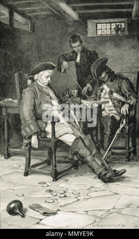Drunken English army scouts, taken prisoner in a tavern, before the battle of Prestonpans, 1745, captured by a young clerk - Stock Photo