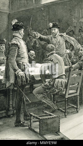 James Stewart, 1st Earl of Moray and Regent of Scotland, ordering the arrest of his enemies the Earl of Cassilis, Lord Herries, and the Duke of Chatellerault, partisans of Mary Queen of Scots who had been forced to abdicate in favour of James VI, for refusing to accept the authority of the young King at the Edinburgh convention, 1569 - Stock Photo