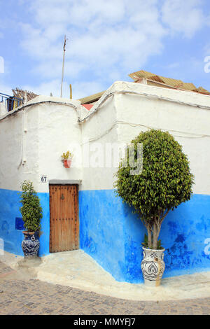 Blue and White Painted House in the Kasbah des Oudias, Rabat, Morocco - Stock Photo