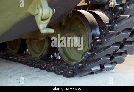 Military tank tracks,close up of crawler. - Stock Photo
