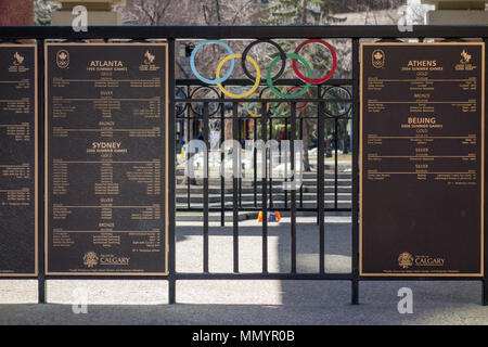 Canadian Medal winners for each games is recognized on a plaque in Calgary's Olympic Plaza. The Olympic Plaza played host to the medal ceremonies duri - Stock Photo